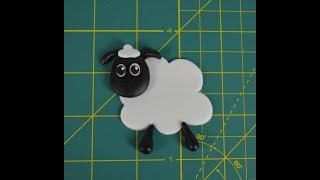 How to make a fondant Shaun The Sheep Farmageddon Step by Step Tutorial FMM Fluffy Cloud Cutters