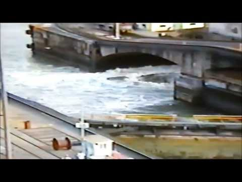 Panama Canal water flow and view of Bridge of the Americas (1996)