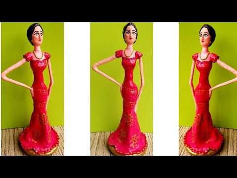 How to make doll from Newspaper and Clay | DIY Newspaper doll