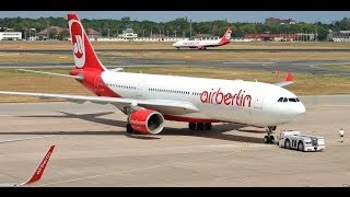 Air Berlin Airbus A330-223 D-ALPI mit Pushback, Taxing, Take Off und ein Gate mit Defekt