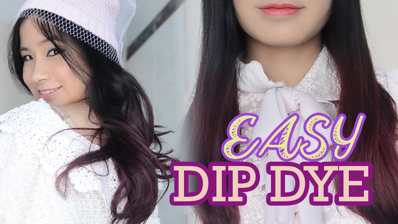 Purple Hair How To Easy Dip Dye Hair At Home Asian Hair Youtube