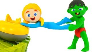 LITTLE PRINCESS DOESN\'T WANT TO LEAVE THE FUN PARK ❤ SUPERHERO PLAY DOH CARTOONS FOR KIDS