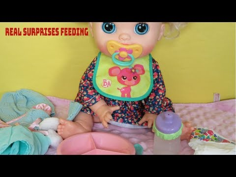 BABY ALIVE  Real Surprises Doll Feeding And Changing Into BITTY BABY Clothes