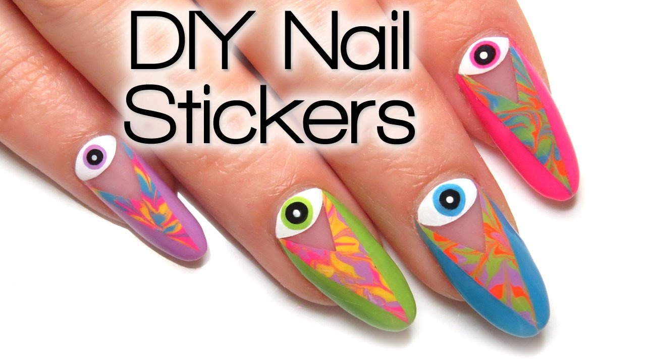 Tie Dye Coachella Evil Eye DIY Nail Art Sticker Tutorial - YouTube
