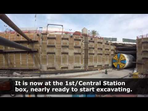 Angeli the tunneling machine arrives at 1st/Central Station