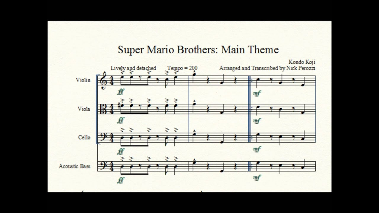 super mario brothers main theme stringed quartet cover youtube. Black Bedroom Furniture Sets. Home Design Ideas