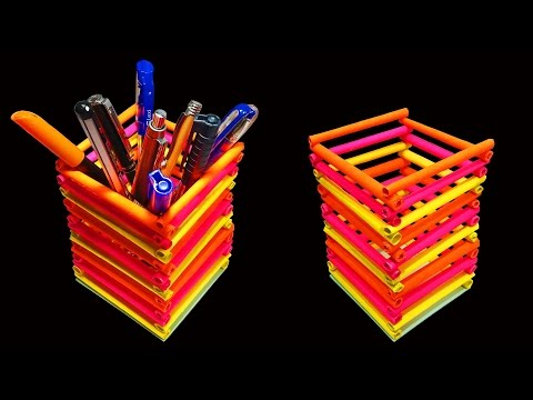 How to Make A Beautiful Pen or Pencil Holder (Paper Crafts) - HD