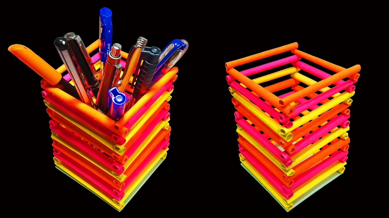 How To Make A Beautiful Pen Or Pencil Holder Paper Crafts Hd