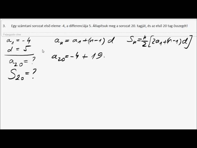 12. o. Számtani sorozat - 3. könnyű feladat