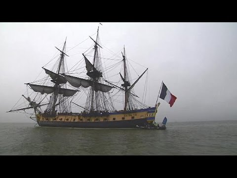 {Watch} Replica of famous French frigate retraces historic voyage