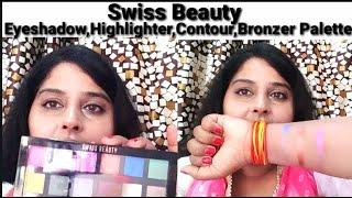 Swiss beauty eyeshadow, highlighter, contour & bronzer multiple makeup palette review