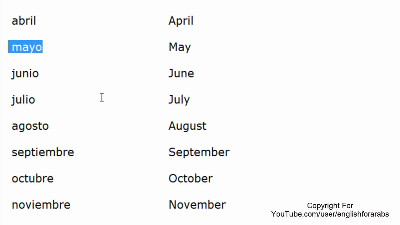 Months of the year in Spanish - Spanish For Beginners - YouTube