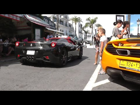Puerto Banus, Marbella Supercars July 2014 | incl Zonda S | Novitec 458 Flame Spitter | Arab 458