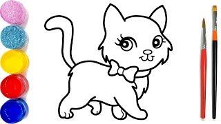 Vẽ và tô màu con mèo dễ thương | Dạy bé vẽ | Dạy bé tô màu | Kucing Halaman Mewarnai