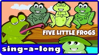Five Little Speckled Frogs | Nursery Rhyme | With Lyrics by HooplaKidz Sing-A-Long