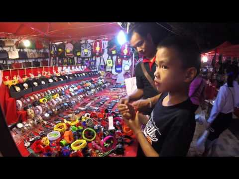 Vientiane Night Market Tour in HD