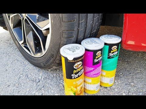 Crushing Crunchy Soft Things by Car! Ayşe's PRİNGLES Vs Candy Car Test