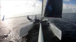 Catamaran zeilen op het Lauwersmeer 2 oktober 2016