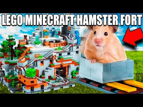 Real LIFE Minecraft Box Fort! Hamster Lego Obstacle Course Challenge (Lego Minecraft)