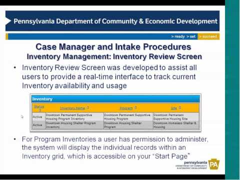 Case Manager and Intake Procedures Training - Supplemental Features - Part I