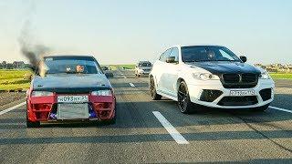 Что сможет ТУРБО ВАЗ 2108 против BMW X6M , FERRARI FF и NISSAN GT-R 700 СИЛ!