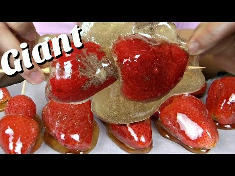 GIANT Asmr Eating Candied Strawberries! (Tanghulu) (&Step-By-Step How to Make)