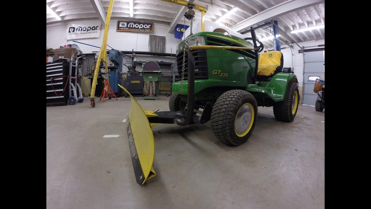 John Deere Snow Blade Retrofit Gt 235 Lawn Tractor Youtube