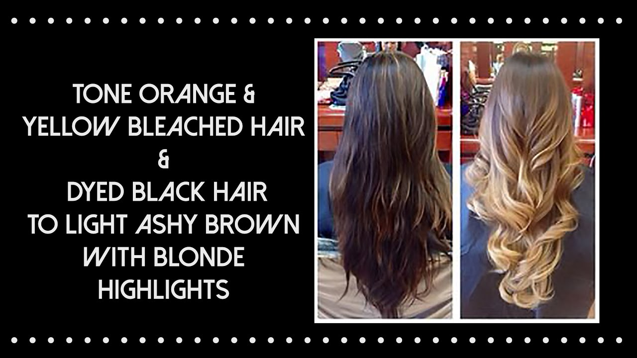 How To Bleach Black Hair To Light Brown Tone Orange Hair Youtube