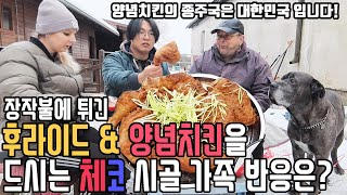 Reaction of czech family to korean fried chicken. International couple MUKBANG