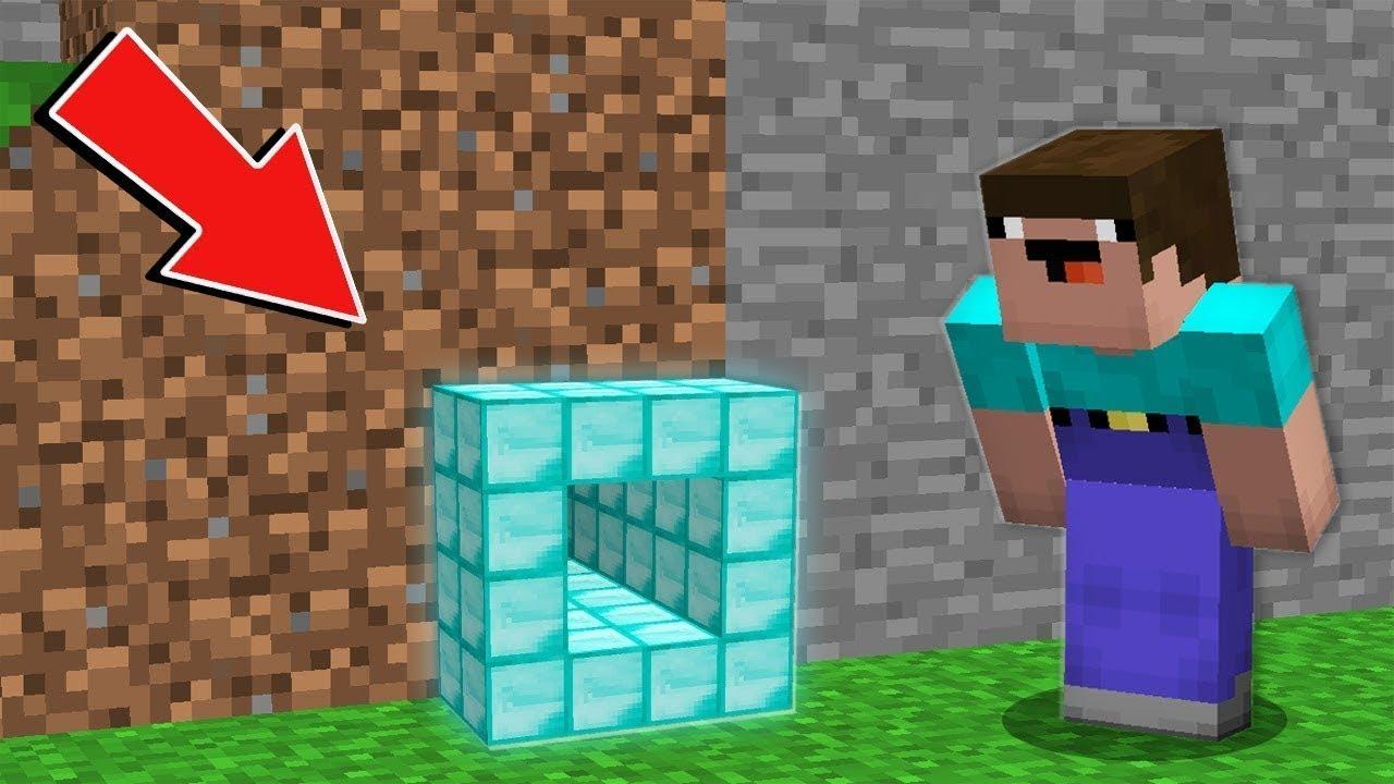 Minecraft NOOB vs PRO: NOOB FOUND SUPER SMALL DIAMOND TUNNEL IN VILLAGE Challenge 100% trolling