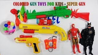 Colored Gun Toys For Kids - Super Gun And Shoot Gun Toys Playing   Toys Video For Kids