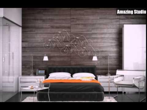Charming Bedroom Interior Wood Paneling