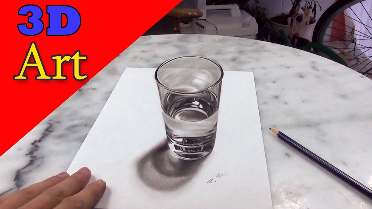 How to draw a glass of water 3d painting anamorphic for How to paint 3d