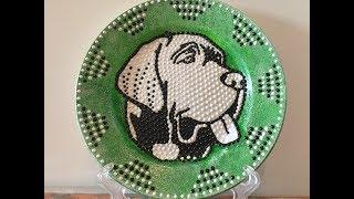 Новогодний декор тарелки к Новому году  - символ 2018 года - Собака. Точечная роспись. Diy.