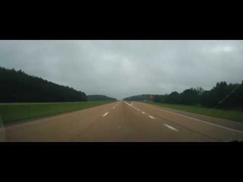 Driving on Interstate 22 from Mississippi to Birmingham, Alabama