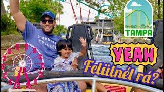 KALANDRA FEL! Hullámvasutak-Szabadesés-Őrült folyó! Busch Gardens szórakoztatópark - Tampa!