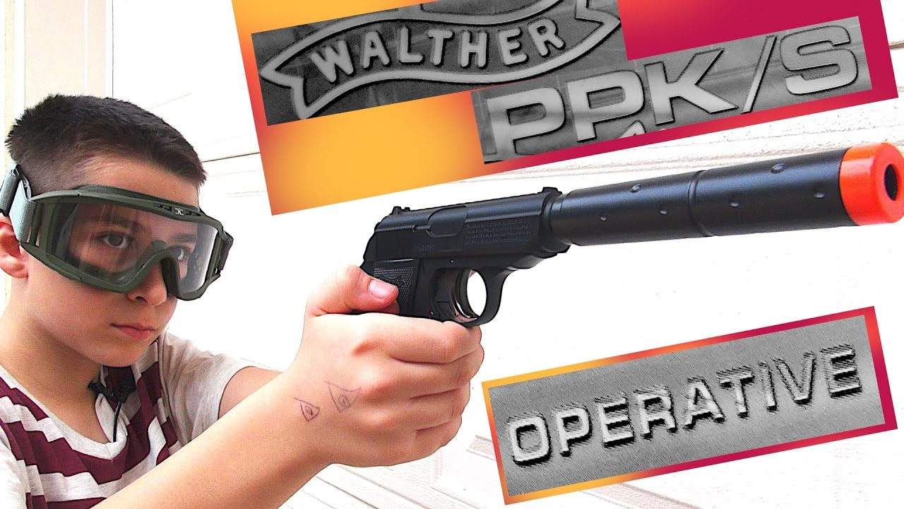 Walther PPK/S Operative Airsoft Spring Pistol Combat Kit by Umarex - Black  with Robert-Andre!