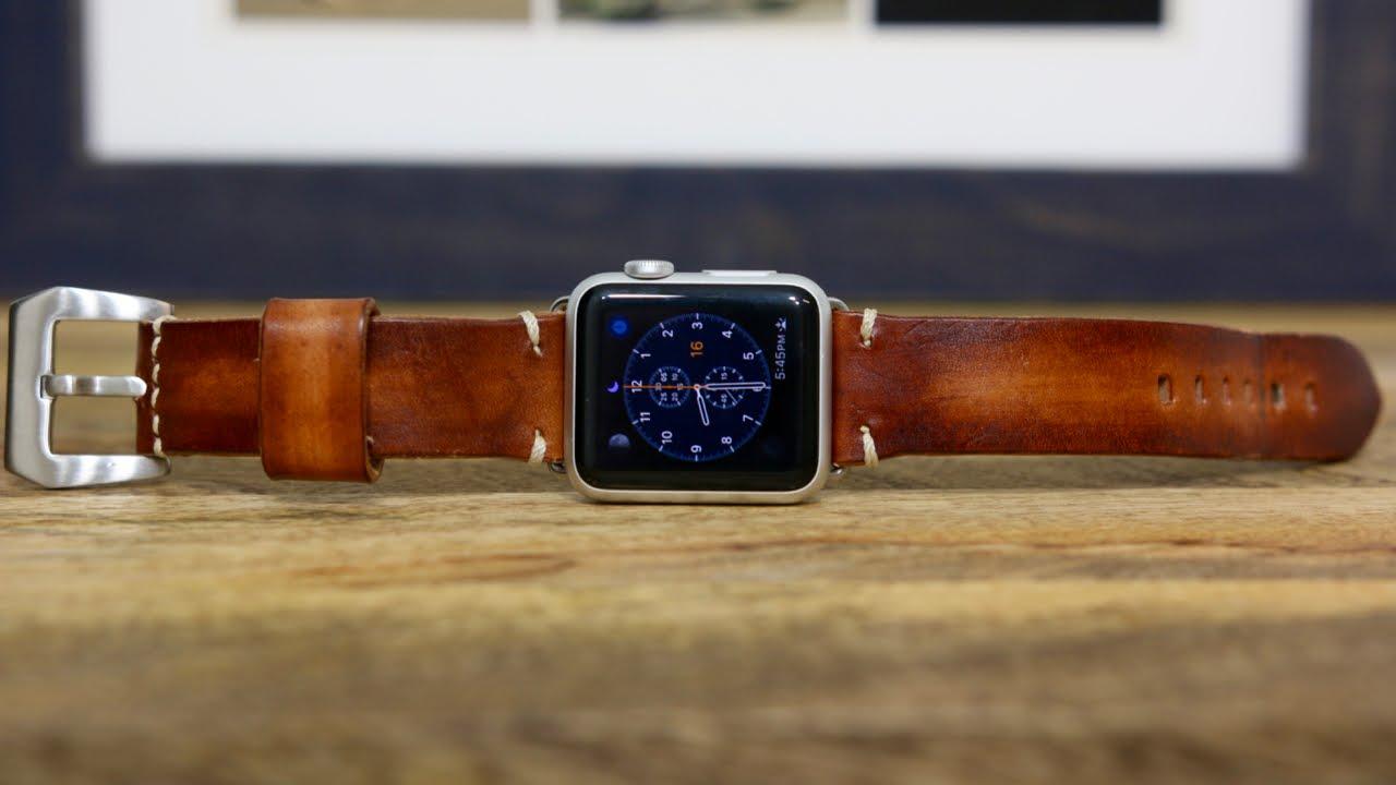 f50dac2f34dce6 Handmade Custom Leather Apple Watch Band - YouTube