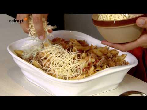 recette-pâtes-gratinées-à-la-viande,-aux-poireaux-et-aux-tomates---colruyt