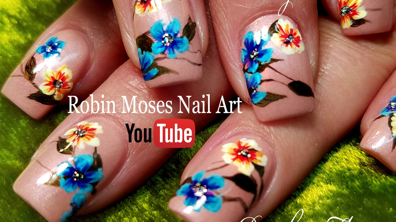 Diy Rainbow Spring Flower Hand Painted Nails Nude Art Design
