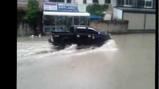 Heavy rain in Thailand + Street flooding