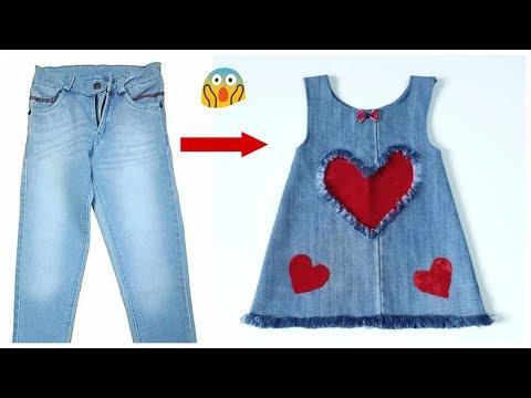 Conversion rapide de vieux jeans en une robe de bébé élégante en toute simplicité