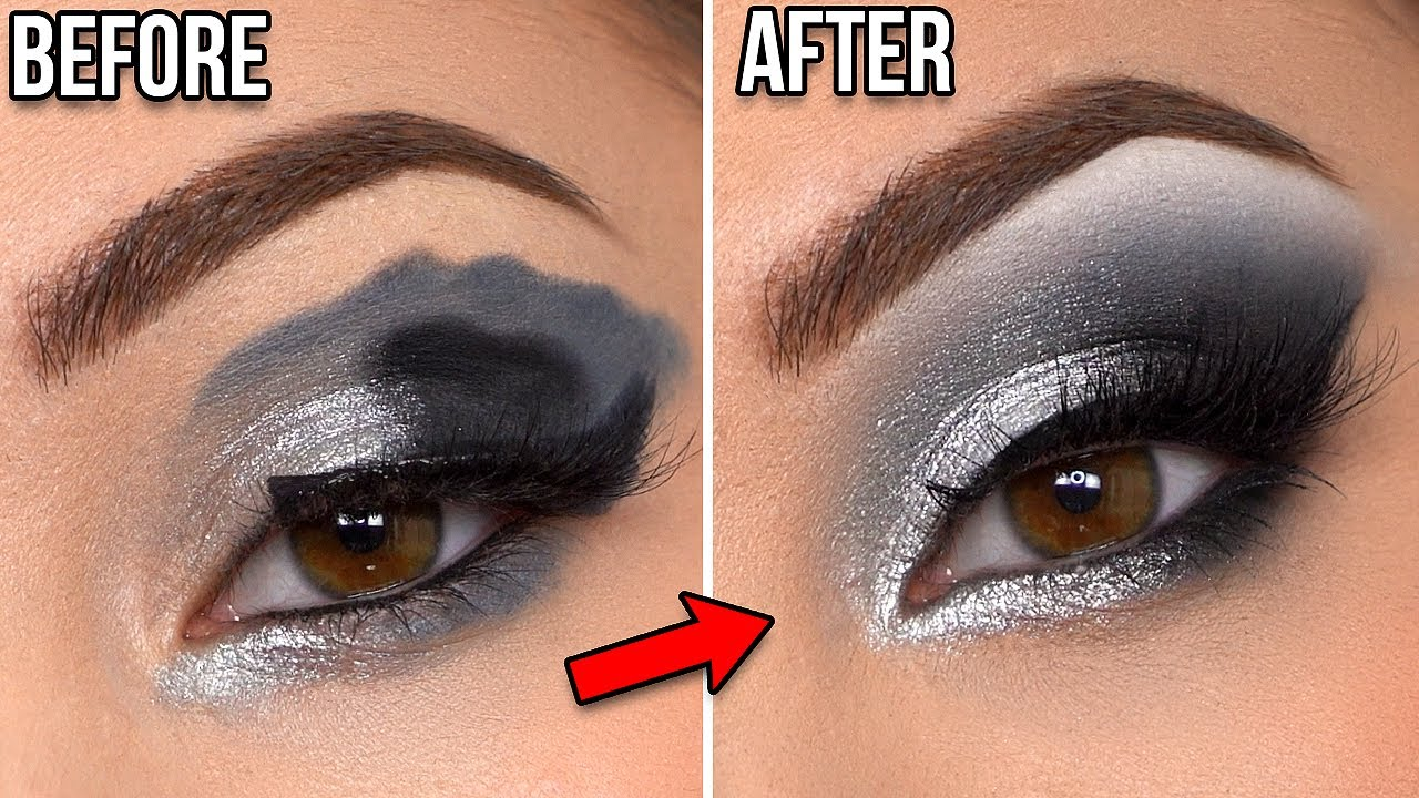 HOW TO FIX BAD MAKEUP - GLAM Black & Silver Smokey Eye