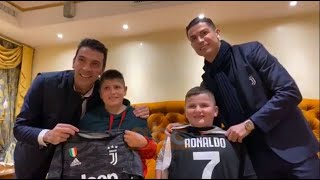 Ronaldo and Buffon meet with the childrens who jumped from the 5th floor during the quake in Albania