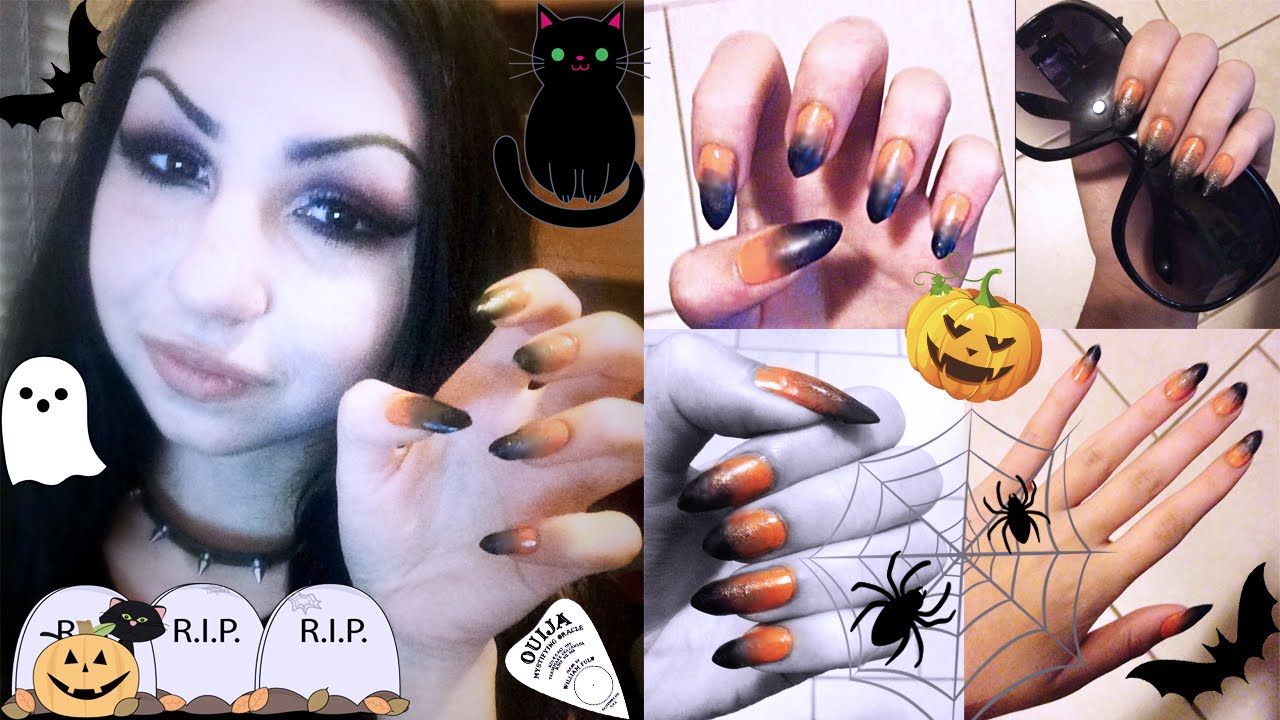 Simple DIY: Halloween Inspired Orange to Black Nail Ombre ...