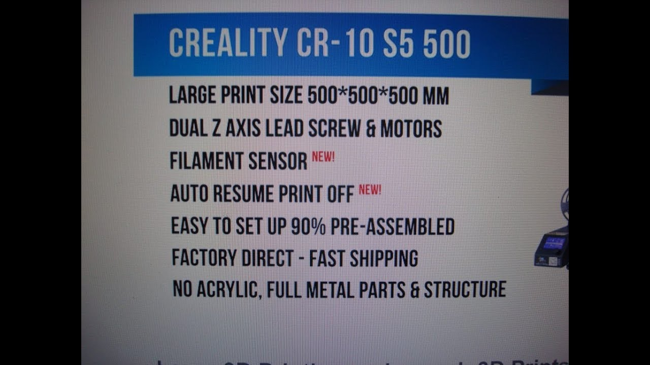 CR-10 S5 Power loss resume, filiment loss resume, 500mm build size ...