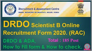 DRDO Scientist B Online Recruitment Form 2020. (RAC) Recruitment & Assistant Centre. ADA Vacancy.