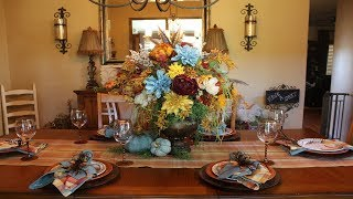 EARLY FALL HOME TOUR 2019 - DINING ROOM - TUSCAN DECOR - FALL DECOR - FUN WITH FEATHERS