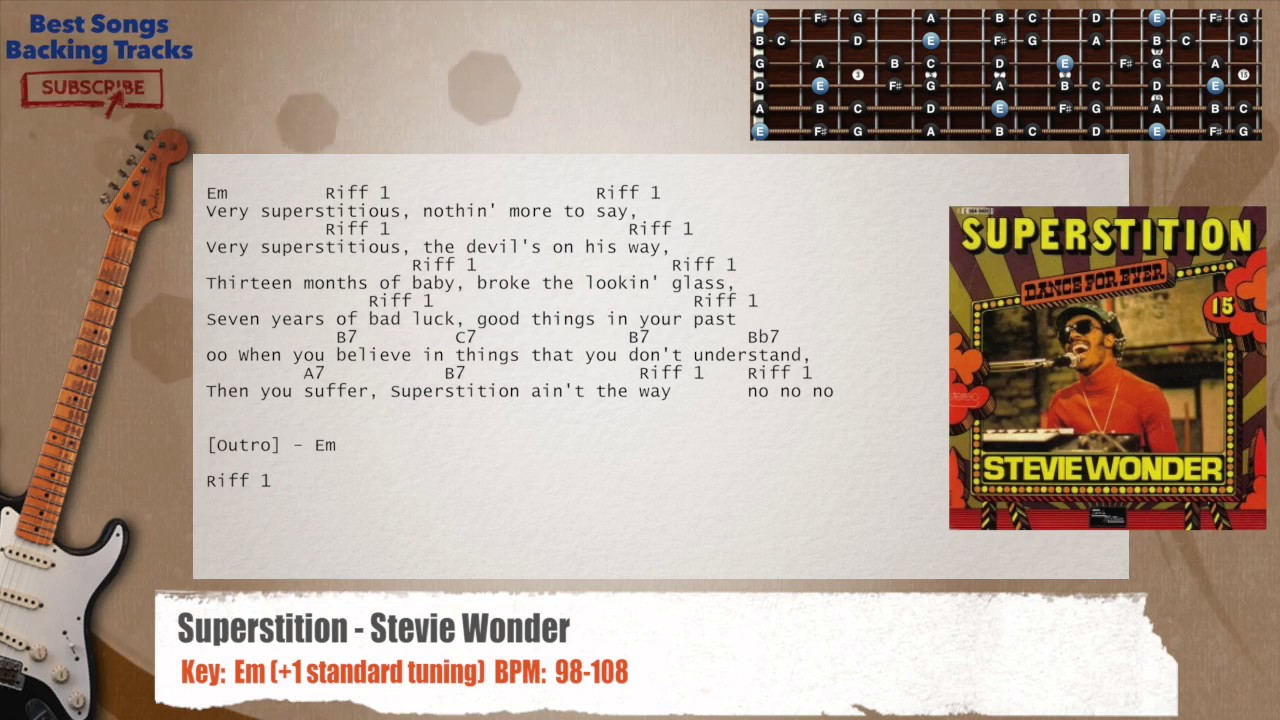 Superstition Stevie Wonder Guitar Backing Track With Chords And