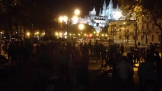 Dancing in the square in Palma, Mallorca.